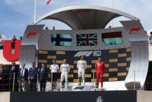 23.06.2019 - Race, 1st place Lewis Hamilton (GBR) Mercedes AMG F1 W10 race winner, 2nd place Valtteri Bottas (FIN) Mercedes AMG F1 W010 and 3rd place Charles Leclerc (MON) Scuderia Ferrari SF90