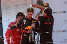 30.06.2019 - Race, Max Verstappen (NED) Red Bull Racing RB15 race winner with Toyoharu Tanabe (JPN) Honda Racing F1 Technical Director
