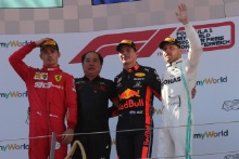 30.06.2019 - Race, 1st place Max Verstappen (NED) Red Bull Racing RB15, 2nd place Charles Leclerc (MON) Scuderia Ferrari SF90 and 3rd place Valtteri Bottas (FIN) Mercedes AMG F1 W010