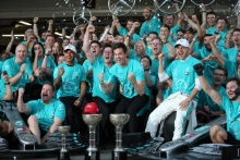13.10.2019- Mercedes AMG F1 team celebrates the victory of Valtteri Bottas (FIN) Mercedes AMG F1 W10 EQ Power, the 3rd place of Lewis Hamilton (GBR) Mercedes AMG F1 W10 EQ Power and the winning of 2019 constructor championship