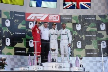 13.10.2019- Podium, winner Valtteri Bottas (FIN) Mercedes AMG F1 W10 EQ Power, 2nd place Sebastian Vettel (GER) Scuderia Ferrari SF90, 3rd place Lewis Hamilton (GBR) Mercedes AMG F1 W10 EQ Power
