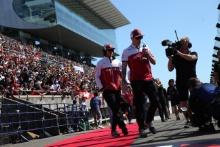 13.10.2019- driver parade, Kimi Raikkonen (FIN) Alfa Romeo Racing C38 and Antonio Giovinazzi (ITA) Alfa Romeo Racing C38