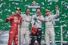 27.10.2019 - 1st place Lewis Hamilton (GBR) Mercedes AMG F1 W10, 2nd place Sebastian Vettel (GER) Scuderia Ferrari SF90 and 3rd place Valtteri Bottas (FIN) Mercedes AMG F1 W010