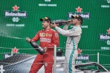 27.10.2019 - 2nd place Sebastian Vettel (GER) Scuderia Ferrari SF90 and 3rd place Valtteri Bottas (FIN) Mercedes AMG F1 W010