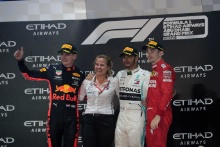 01.12.2019 - Race, 2nd place Max Verstappen (NED) Red Bull Racing RB15, Lewis Hamilton (GBR) Mercedes AMG F1 W10 race winner and 3rd place Charles Leclerc (MON) Scuderia Ferrari SF90