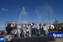 26.04.2015 - 1st position Kris MEEKE (GBR)- PaulG NAGLE (IRL), Citroën DS3 WRC, CITROEN TOTAL ABU DHABI WRT, 2nd position Mads OSTBERG (NOR) -  Jonas ANDERSSON (SWE), Citroën DS3 WRC, CITROEN TOTAL ABU DHABI WRT and 3rd position Elfyn EVANS (GBR)- Daniel BARRIT (GBR), Ford Fiesta RS WRC, M-SPORT World Rally Team